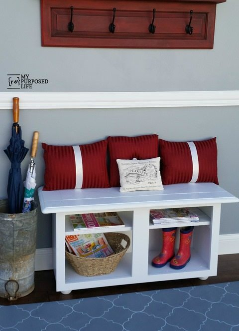 MyRepurposedLife-white-entryway-bench-repurposed-kitchen-cabinet
