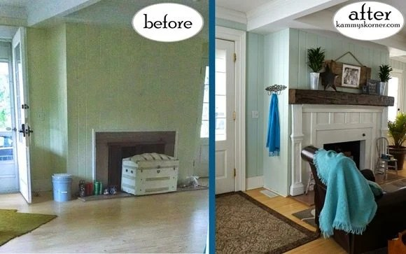 fireplace before after