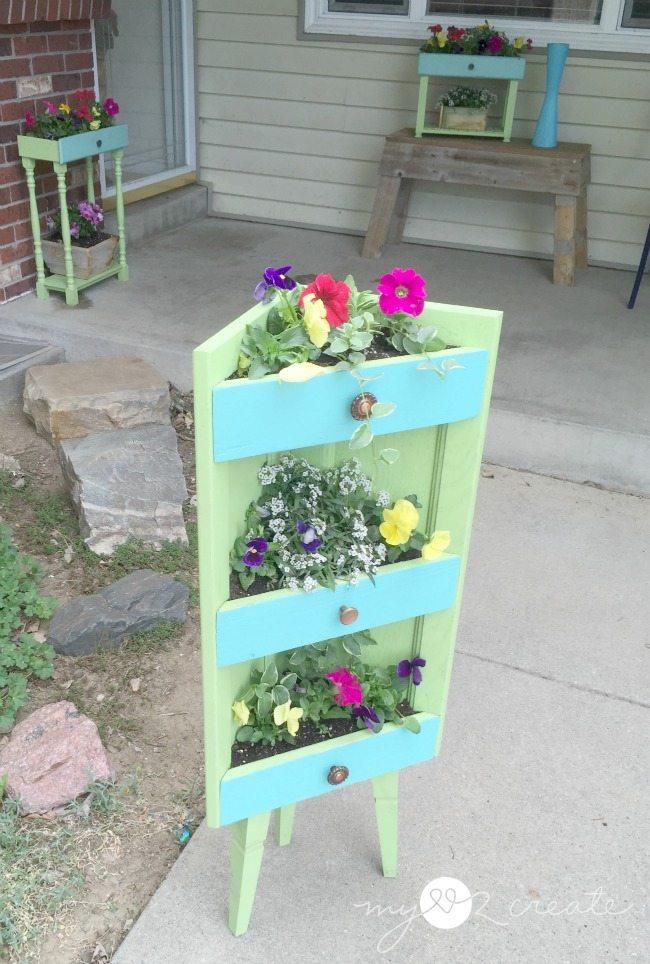 Corner cabinet planter front