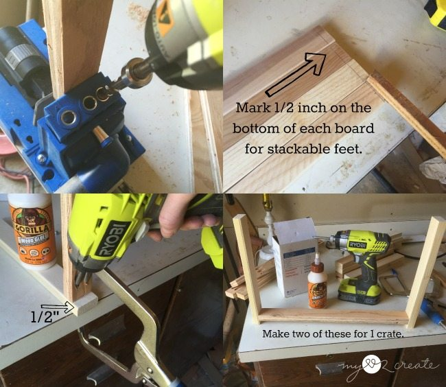 attaching side supports with pocket holes for making crates
