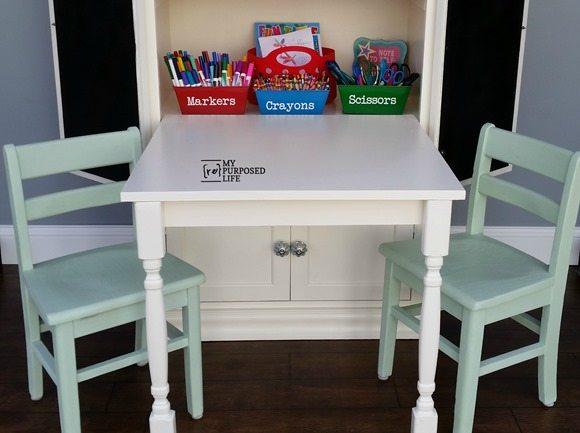 MyRepurposedLife-kids-art-center-small-wooden-chairs