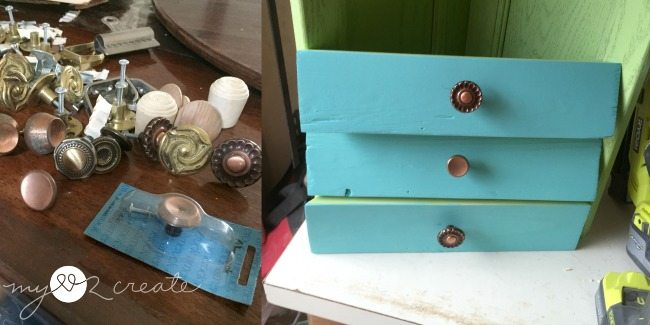 choosing knobs for the faux drawers