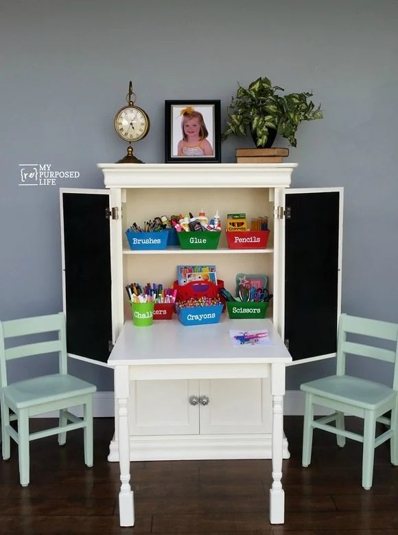 my-repurposed-life-repurposed-armoire-kids-art-center-table