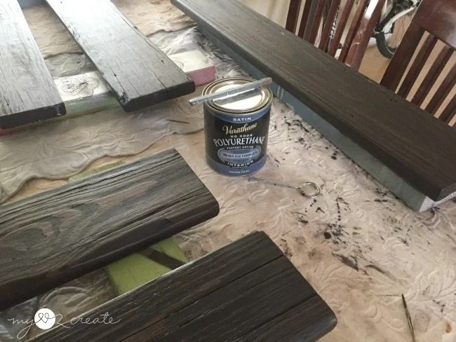 adding poly to stained deck boards
