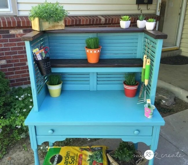 front cropped shot of potting bench, MyLove2Create
