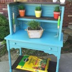Upcycled Shutters and Desk into Potting Bench