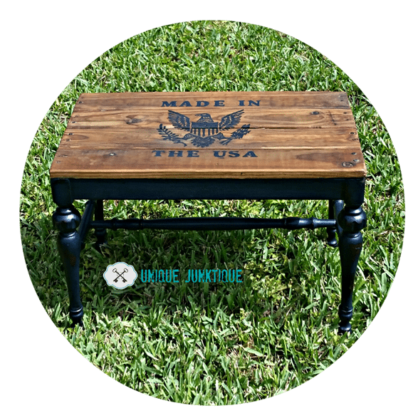 repurposed-stool-patriotic-bench