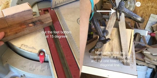 cutting A-frame feet for crate