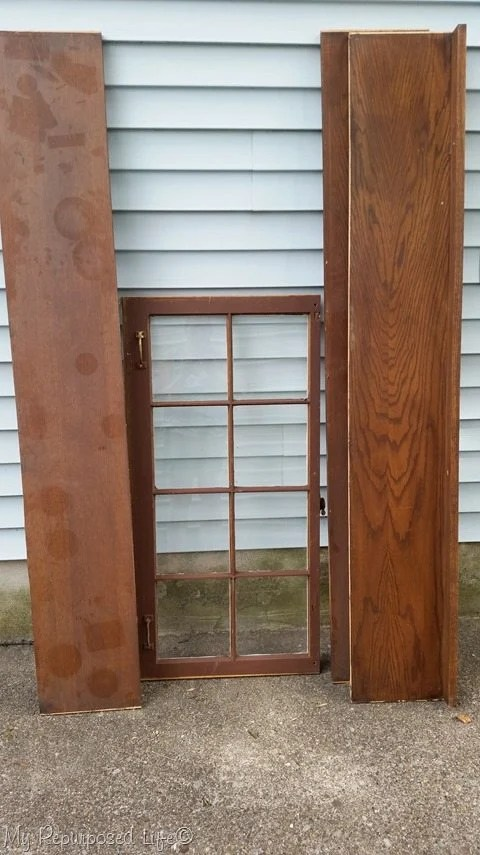 components to make a diy tall window cabinet