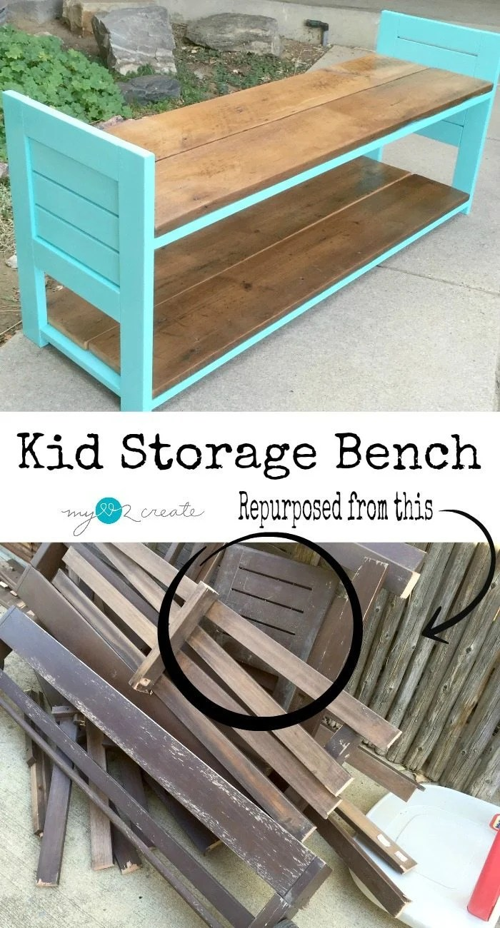 Build a fun kid storage bench out of reclaimed materials!