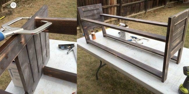 attaching support boards to second side of bench