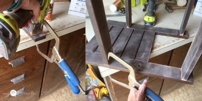 using right angle clamp to attach support boards to sides