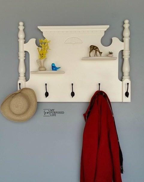 my-repurposed-life-repurposed-bed-coat-rack-shelf