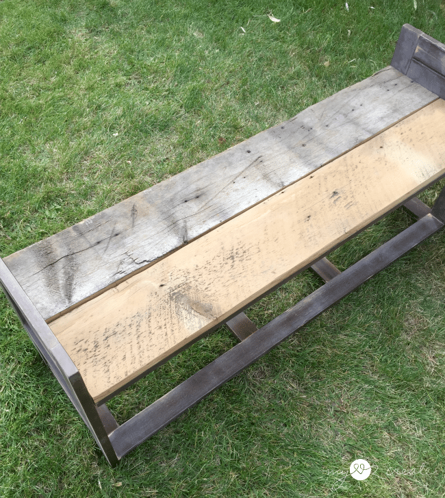 trying out reclaimed wood on bench