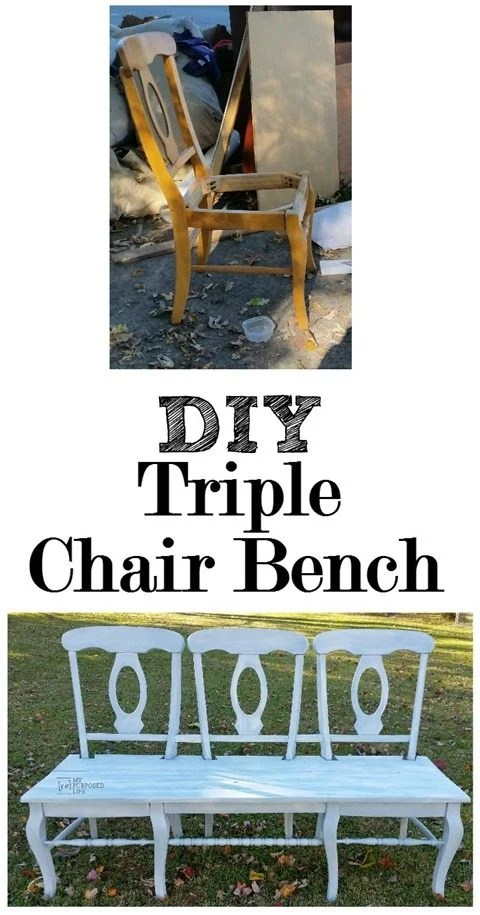 DIY triple chair bench, great for your farm table