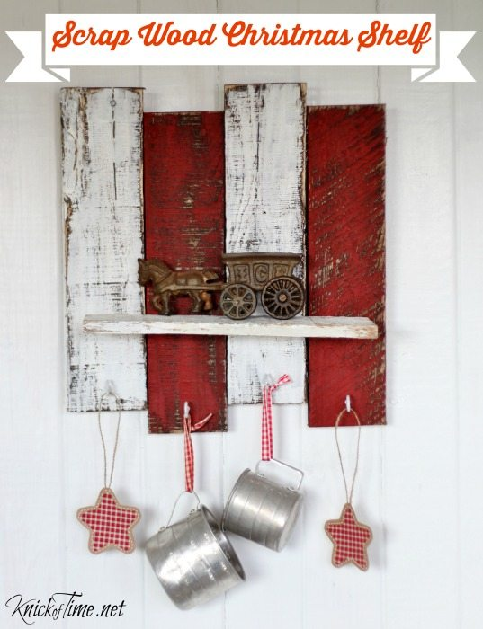 turn scrap pallet wood into a festive Christmas shelf with hooks to hang stockings and ornaments