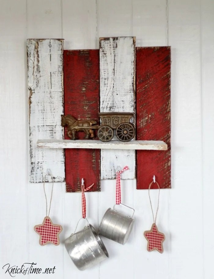 Scrap Wood Christmas Shelf with Hooks  My Repurposed Life