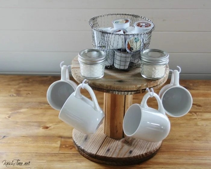 counter top coffee station made from a small spool