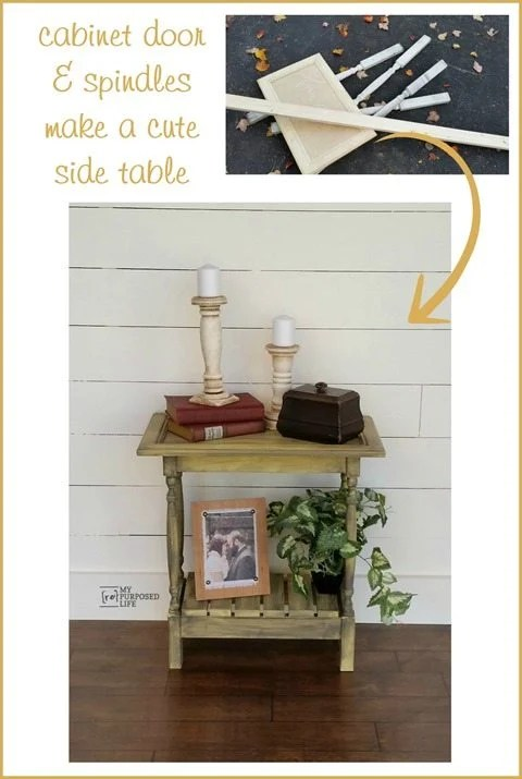 A cabinet door, spindles and scrap wood make a cute side table. Great project for a beginner