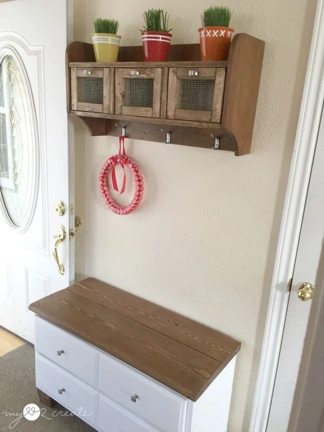 entryway bench from an old dresser