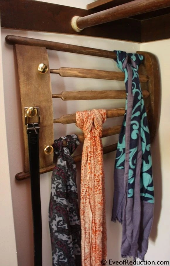 DIY scarf rack from chair MyRepurposedLife.com