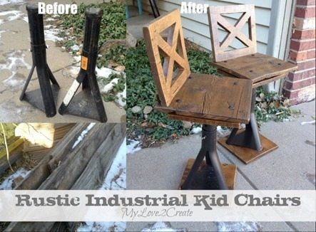 MyLove2Create Rustic Industrial kid chairs MyRepurposedLife.com