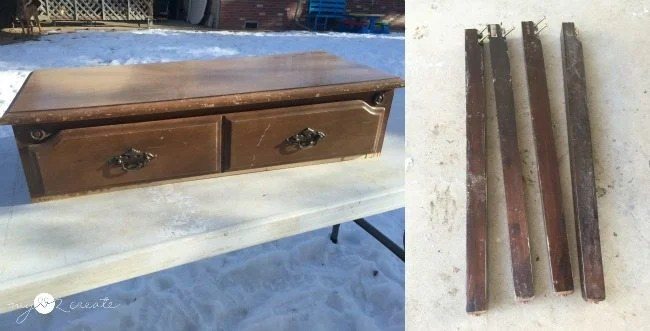 before of storage bench, dresser top and table legs