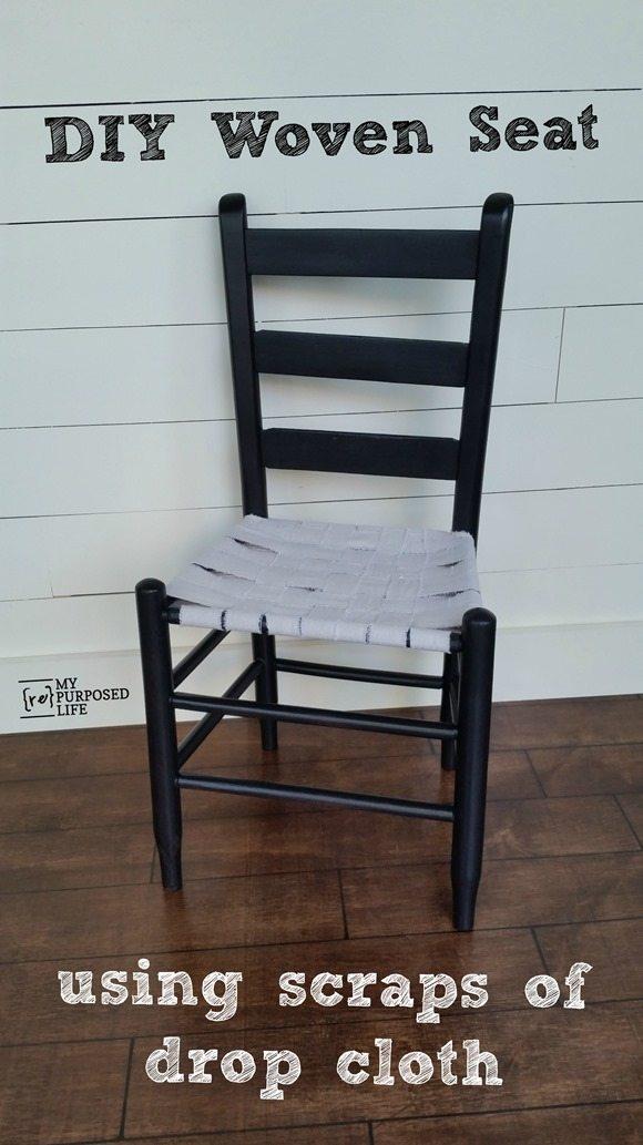Easy DIY woven chair seat using scraps of drop cloth material. #MyRepurposedLife #repurposed #furniture #easy #diy #chair via @repurposedlife