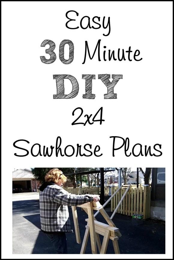 30 minute easy diy 2x4 sawhorse plans MyRepurposedLife.com