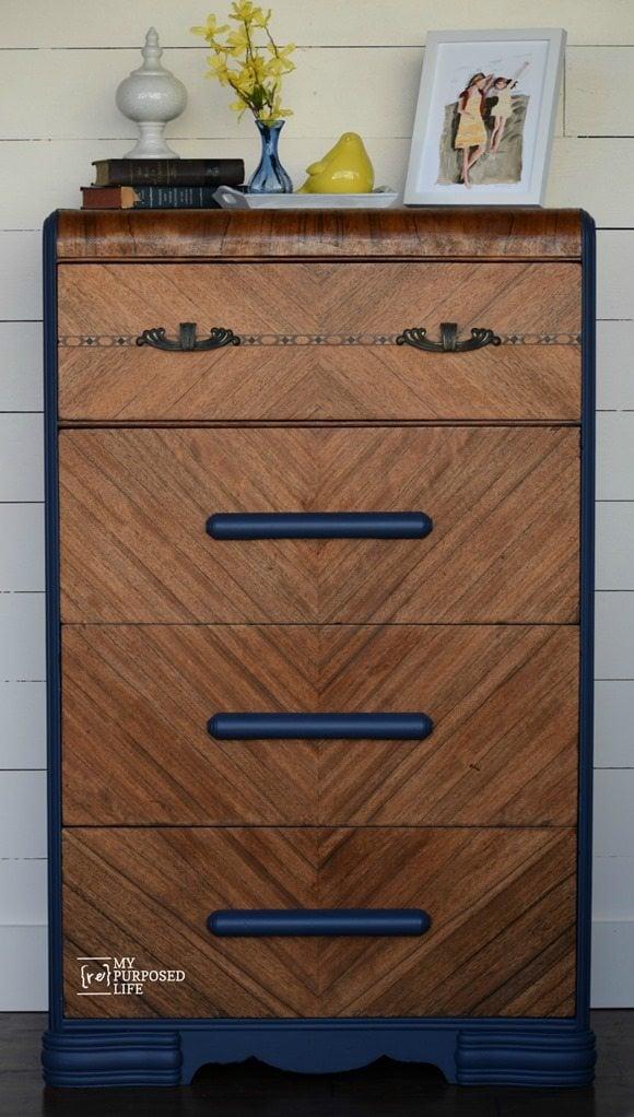 blue dark walnut waterfall dresser makevoer MyRepurposedLife.com