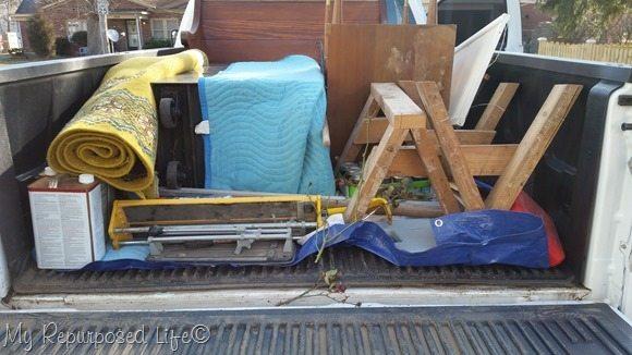 loaded pickup truck
