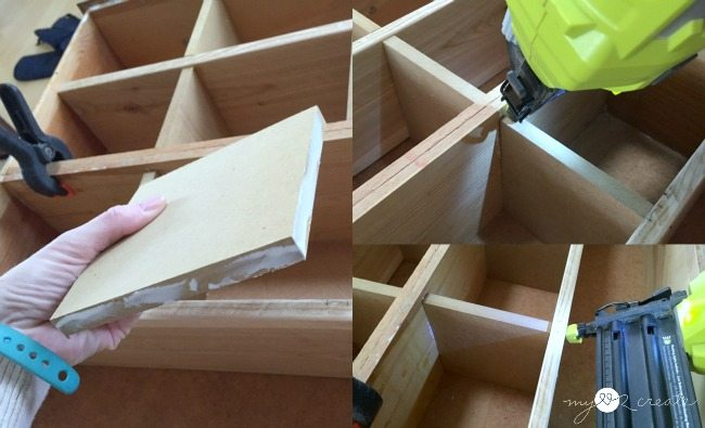toenailing boards in cubby organizer