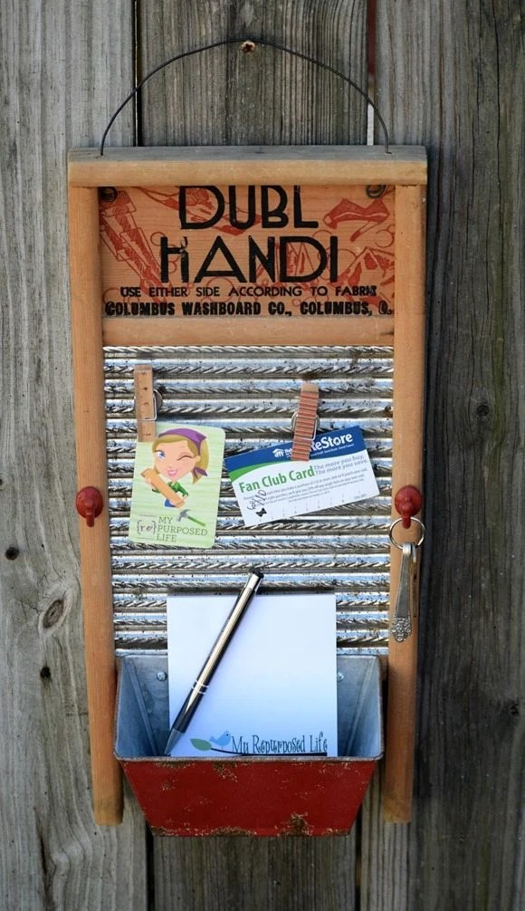 washboard memo board MyRepurposedLife.com