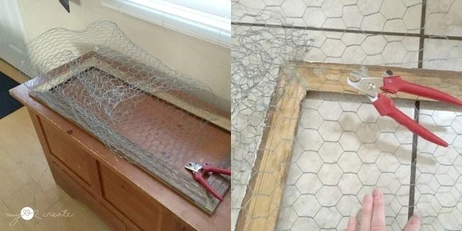 Cutting chicken wire for cabinet door