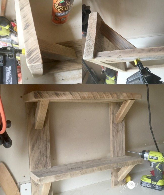 gluing and nailing wood brackets to shelves
