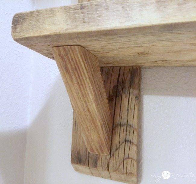 bottom support bracket for wood shelves