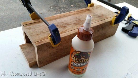 gorilla wood glue pallet centerpiece caddy