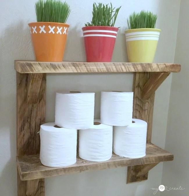 Reclaimed Wood Shelves bathroom storage