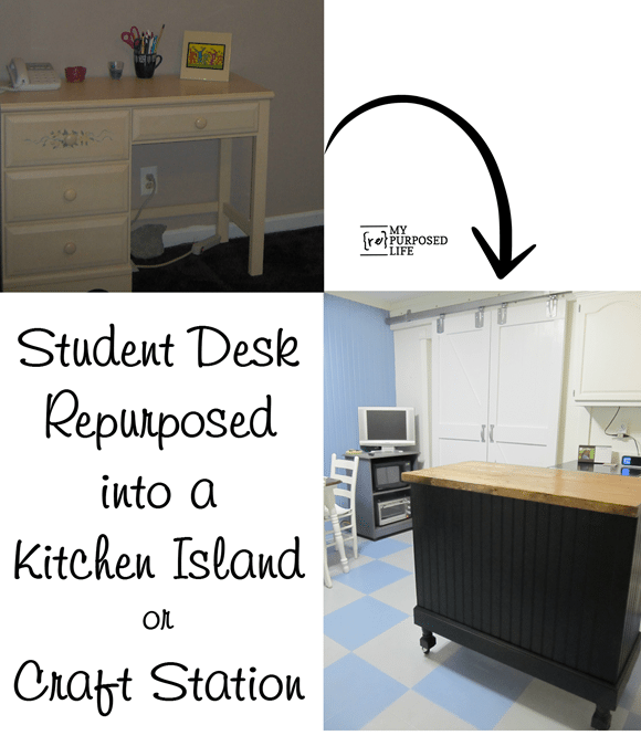 student desk into a kitchen island craft station MyRepurposedLife.com