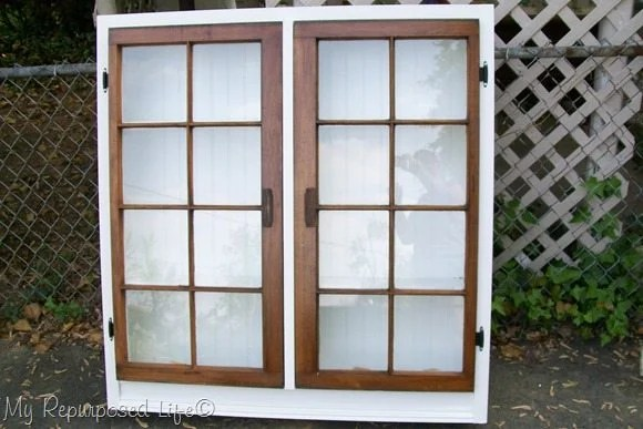 large floor repurposed window cabinet