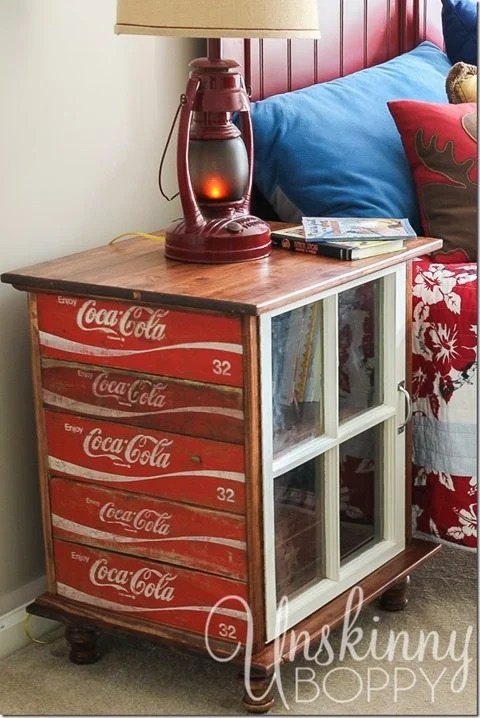 old coke crate and window nightstand