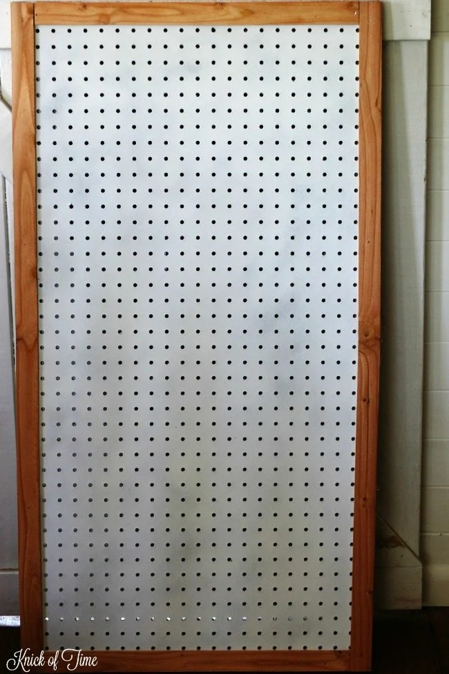 painted and framed pegboard