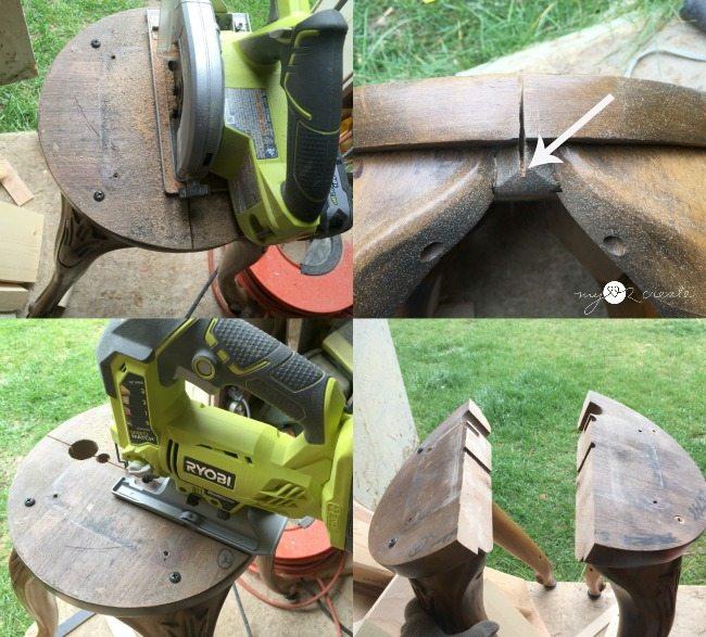 cutting bar stool legs in half