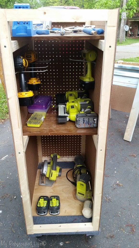 pegboard portable tool cart