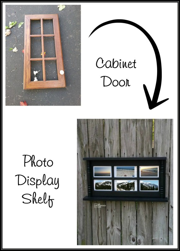 repurposed cabinet door into a photo display shelf MyRepurposedLife.com
