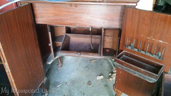 vintage sewing cabinet interior
