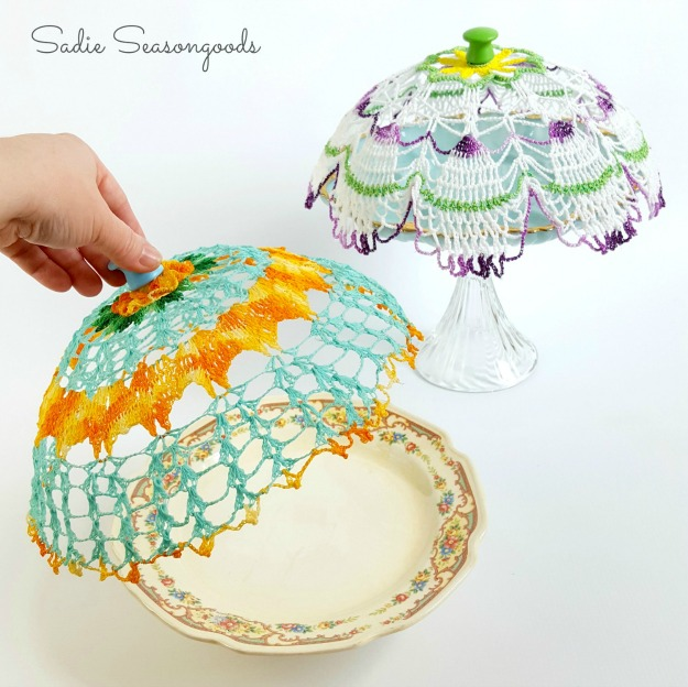vintage doily cloche covers