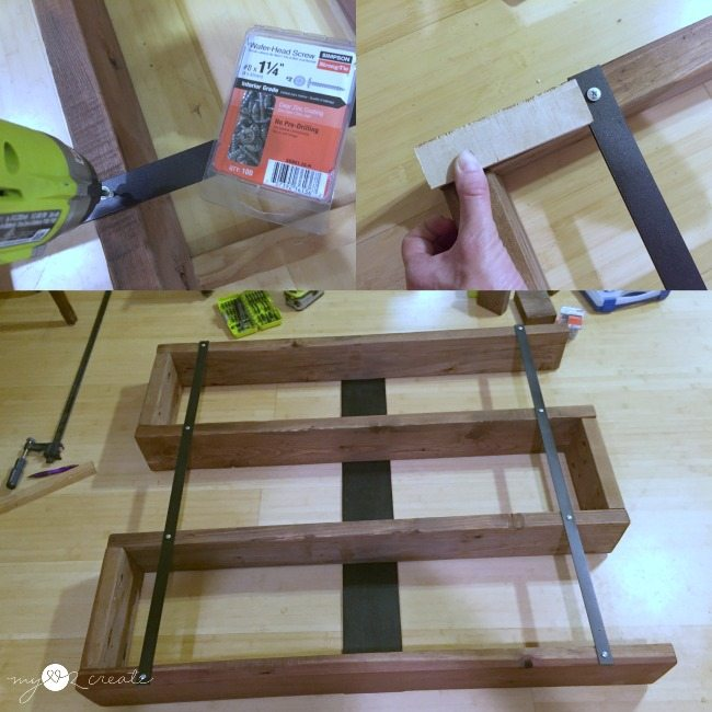 attaching metal straps to secure bookshelf