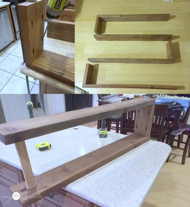 attaching wooden supports to shelves