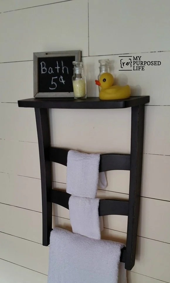black chair back towel rack shelf MyRepurposedLife.com